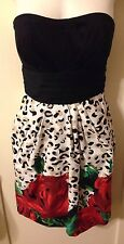 New SNAP Pin-Up Rockabilly Black & Leopard Print & Red Rose Dress Sz S