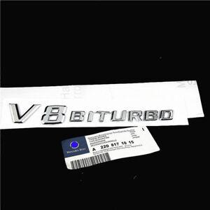 A+ *Chrome Side Fender Sticker Emblem Badge OEM V8 BITURBO For All Mercedes-Benz