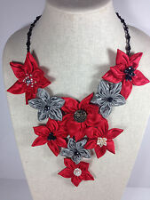 Handmade Statement Necklace Daisy Flower V-Shape Red Gray Crystal Chain