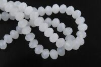 200pcs 3x4mm Faceted Rondelle Loose Spacer Crystal Glass Beads Jade White
