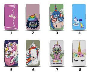 Unicorn Flip Wallet Case Unicorns Girly Poo Poop Make Up Girls Rainbow 8093d