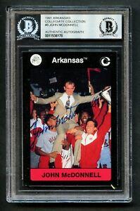 John McDonnell #8 signed autograph 1991 Arkansas Collegiate Collection Card BAS