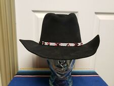 Custom  Made Western Hat Size 59 7 3/8 Black 5X Fur Felt Beaded Hat Band