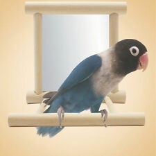 Creative Wooden Bird Toy Mirror Fun Toys For Parrots Cockatiel Vogel Speelgoed