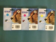 Collection of 3 genuine Epson cyan T0712 magenta  T0713  yellow T0714 (T0715) BN
