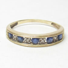 Estate 14K Yellow Gold Natural Blue Sapphire And Diamond Band Ring 0.45 Cts