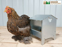 Small Chicken & Poultry Galvanised Feeder with Roof Ducks Quails