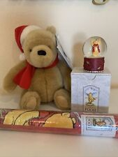 Disney classic pooh christmas snowglobe, plush & wrapping paper New Vintage