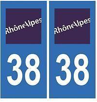 stickers autocollants plaques immatriculation auto Département Isère 38