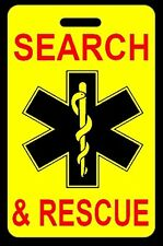 Safety Yellow SEARCH & RESCUE Luggage/Gear Bag Tag - FREE Personalization - New