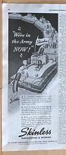 1942 magazine ad for Skinless Franks, hot dog leads tank parade, in the army now