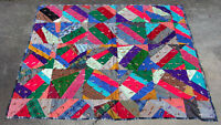 VINTAGE wool flannel polyester knit corduroy velvet crazy quilt 80x64 twin HEAVY