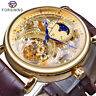 Forsining Mens Watches Moonphase Skeleton Automatic Mechanical Date Wristwatch