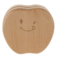 Apple Wood Milk Teeth Curl Storage kids Boy Girl Tooth Box Baby Shower Gift
