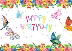Flowers Butterfly Happy Birthday Vinyl Backdrop Background Photography 7X5FT