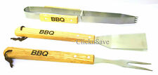 3pcs BBQ Tools Set Wood Metal Barbeque Cooking Grill Fork Spatula Tong Utensil