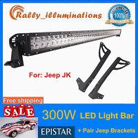 "52""IN 300W LED Light Bar Combo+Mounting Brackets Fits Jeep JK Wrangler 2007-2018"