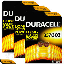6 x Duracell Silver Oxide 357 303 1.5V batteries Watch D357 V303 V357 SR44