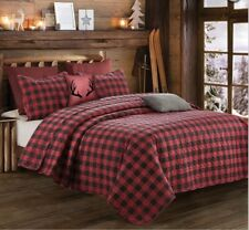 """Red & Black Plaid"" Printed  3 Piece Quilt Set - Queen/Full Size -2 Shams-90x 90"