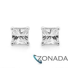 5X5mm White Princess Simulated Diamond 9k 9ct Solid White Gold Earrings