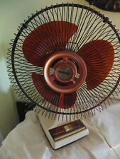 """Vintage Galaxy Oscillating 12"""" Fan 3 Speed Brown Blades & Cage Works Great 1980s"""