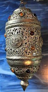 Moroccan Light Vintage Lamp Hanging Chandelier Ceiling Silver Metal Jewels Swag