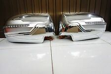 CHROME WING MIRROR COVER WITH BLUE/ORANGE LED FOR MITSUBISHI PAJERO SPORT 2015
