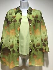 Alfred Dunner Womens 14 Petite Floral Top Green Brown 3/4 sleeves 2 Piece