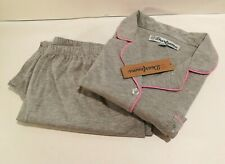 Dearfoams Womens Size M Pajama Set Solid Gray Pink Button Down Top Capri Bottom
