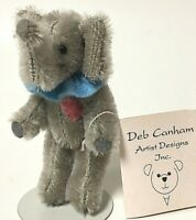 "Deb Canham Limited Miniature 4"" Rainy Days Sticky Bun Gray Mohair Elephant"