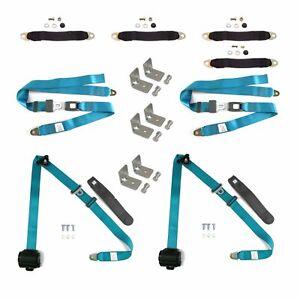 4 BELTS 3pt Retro Blue Retractable Seat Belt Kit For 4 Door hot rods