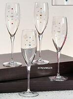 Le Monde Cadeaux, Swarovski Jeweled Crystal Champagne Flutes on a Short Stem