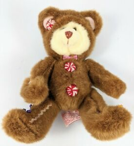"""Teddy Bear Plush Christmas Russ Berrie Cookie 9"""" Gingerbread Outfit Stuffed Ani"""