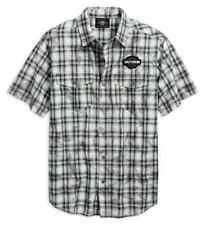 Harley-Davidson® Men's Winged Logo Plaid Short Sleeve Shirt  96763-19VM