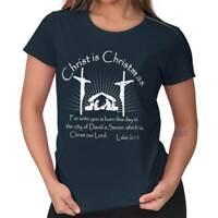 Jesus Christ Christmas Christian Shirt Holiday Religious Gift Ladies Tee Shirt T