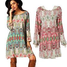 Womens Boho Floral Short Dress Long Sleeve Causal Loose Beach Summer Plus Size