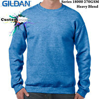 Gildan Heather Sport Royal Heavy Basic Sweat Sweater Jumper Sweatshirt Men