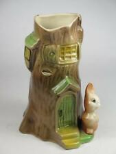 VINTAGE EASTGATE FAUNA VASE No 90 Rabbit and Tree Trunk House 1960s