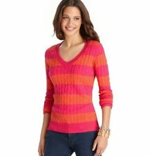 NWT Ann Taylor Loft Hot Pink & Orange Striped V-Neck Cozy Cable Sweater $59 PL