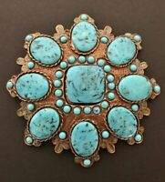 Flowers Baby Blue Turquoise Big Stones Flower Belt Buckle Buckles