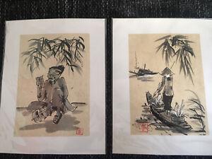 2 Zeichnungen Reispapier Japan