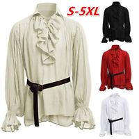 Medieval Renaissance Men Retro Pirate Ruffle Shirts Casual Top T-shirt Costume