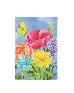 """Floral Bundle"" Whimsy Flowers, Butter 12.5""x 18"" Spring, Summer Garden Flag"