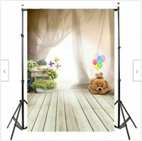 Photography Background Teddy Bear Wall Floor Backdrop Kids Birthday Party Photo