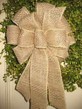 HANDMADE BASKET WEAVE BURLAP WIRED BOW for WREATH POST BASKET MAILBOX # 29