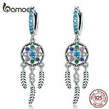 BAMOER Women S925 Sterling silver Dreamer Dangle With Blue CZ Earrings Jewelry