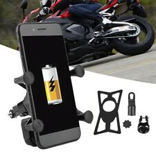 Motorcycle Bike Car Mount Cellphone Holder USB Charger For Phone Universal Black