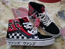 Vans Sk8-Hi Sneakers Japanese Typography Black/Red/White Checkered Pattern.