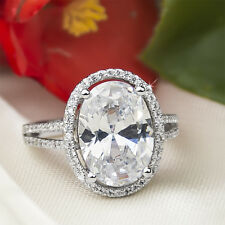 6 CT Carat OVAL CUT Bridal Fashion Engagement RING White Gold Plated Size 5-9