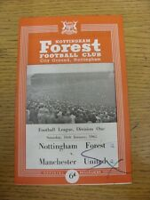 16/01/1965 Nottingham Forest v Manchester United  (Felt Pen Mark On Cover, Score